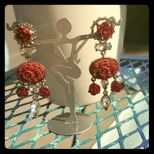 💎💎 Spanish-style Rose/Crystal Earrings💎💎
